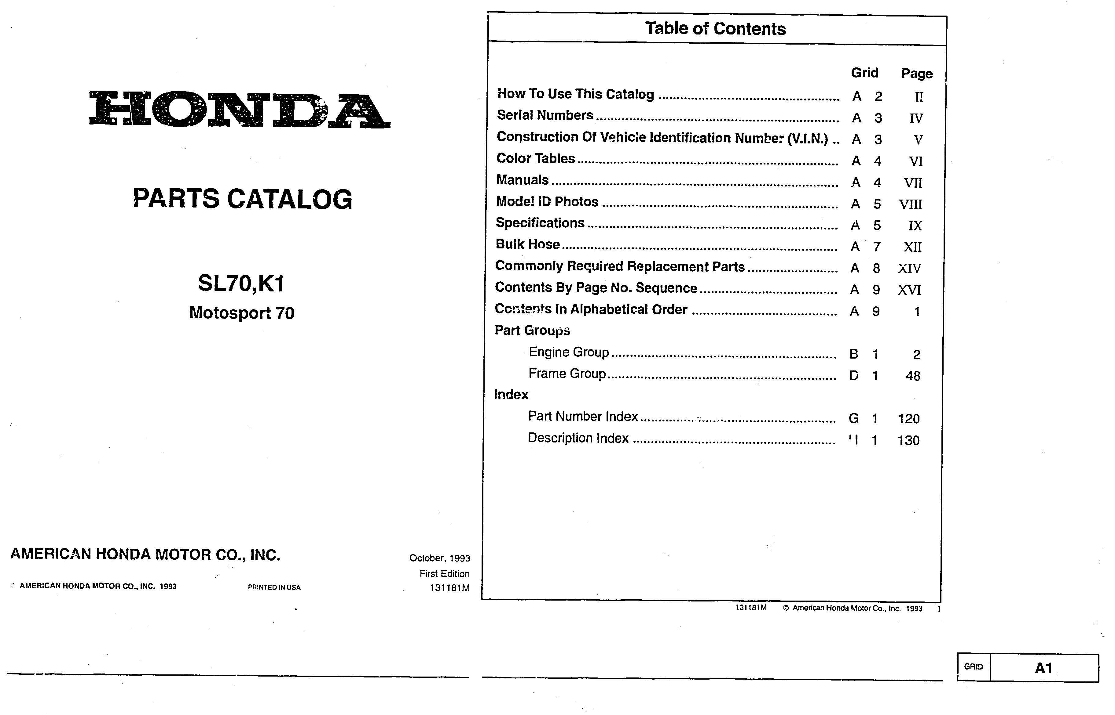 Parts list for Honda SL70 (1993) - Honda 4-stroke.net ...